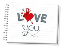 I love you. Notebook with beautiful illustration I love you, vector graphic design Stock Photos