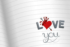I love you. Notebook with beautiful illustration I love you, vector graphic design Stock Photo