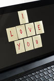 I love you notes on computer Royalty Free Stock Photos