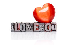 I Love You in old metal letterpress isolated Royalty Free Stock Image