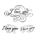 I love you original custom hand lettering. Graphic elements. I love you original custom hand lettering. Graphic elements for your design Royalty Free Stock Photos