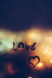 I love you. Painted heart on the foggy window. I love you on Valentine's Day Royalty Free Stock Photo