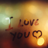 I love you. Painted heart on the foggy window. I love you on Valentine's Day Stock Photography