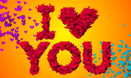 I love you Particles Heart Shape 3D orange background Stock Photos