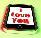 I Love You On Phone Shows Adore Romance Stock Images