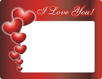 I Love You Photo Frame. With hearts Royalty Free Illustration