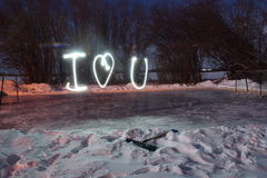 I love you. A photo of i heart you painted with light Stock Photo