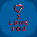 I love you phrase created in digital technology style Stock Image