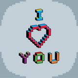 I love you phrase created in digital technology style,  8 Royalty Free Stock Images
