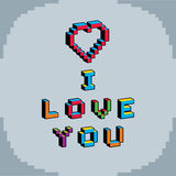 I love you phrase created in digital technology style, vector 8 Royalty Free Stock Image