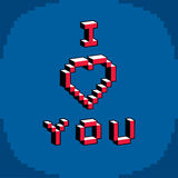 I love you phrase created in digital technology style, vector 8 Stock Photo