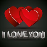 I love you. I love you phrase with 3d letters and two hearts, vector Royalty Free Stock Image