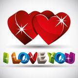 I love you phrase made with 3d colorful letters and two red hear. Ts  on white background, vector Royalty Free Stock Photo