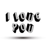I Love You phrase made with 3d retro style geometric letters. Royalty Free Stock Photos