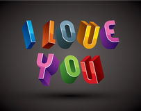 I Love You phrase made with 3d retro style geometric letters. Stock Photo