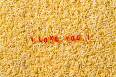 I love you! spelled with alphabet pasta Royalty Free Stock Photography