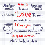 I love you phrase written in many languages. Vector Valentines day decoration. Cute lettering. Stock Photography