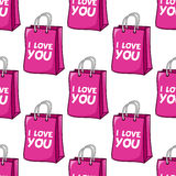 I Love You Pink Bag Seamless Pattern Stock Image