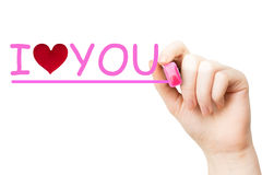 I love you, pink marker Stock Photos