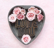 I love you with pink roses Stock Photos