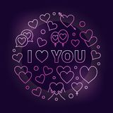 I love you pink vector outline illustration. I love you pink illustration. Vector Love bright linear design on dark background Royalty Free Stock Photos