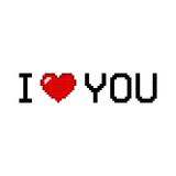 I love you in pixel style with heart isolated on white background. Romantic love. Vector illustration vector illustration