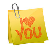 I love you on a post it Stock Image