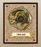 I love you. Postcard with flower Stock Photography