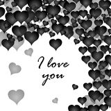 I love you postcard with many black hearts. Valentine`s day. White background. Vector illustration Stock Image