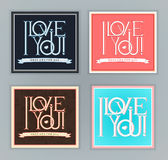 I Love You postcards set. Stock Photography