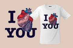 I love you. Print on T-shirts, sweatshirts and souvenirs, cases for mobile phones, vector illustration.  royalty free illustration