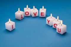 I love you printed on candles. Stock Photography