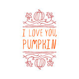 I love you, pumpkin - typographic element Royalty Free Stock Images