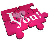 I love you puzzle. An I love you pink puzzle isolated on white Stock Photos