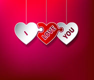 I Love You puzzle hearts. Greeting card Stock Photos
