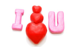 I Love You (Pyramid). Valentine's I Love You Text with Pyramid of Hearts Made of Red and Pink Plasticine Isolated on White Background Royalty Free Stock Photos