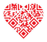 I Love You QR Code Red Heart Shape Stock Photo