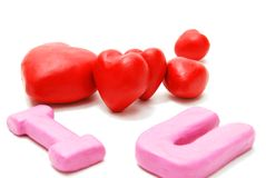 I Love You (Random Heap 2). Random Valentine's I Love You Text with Heap of Hearts Made of Red and Pink Plasticine Isolated on White Background Royalty Free Stock Photos