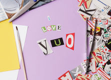 I love you - ransom note style Stock Photography