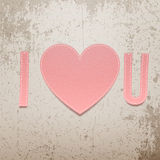 I love You. Realistic Valentines Day paper Sign. I love You. Realistic Valentines Day greeting paper Sign on grunge Background. Vector Illustration Stock Image