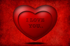 I love you with red 3D heart Stock Photography