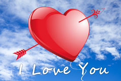 I Love you red Heart Stock Photo
