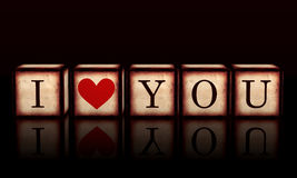 I love you with red heart in 3d wooden cubes Stock Photos