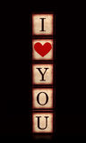 I love you with red heart in 3d wooden cubes vertical Royalty Free Stock Photography