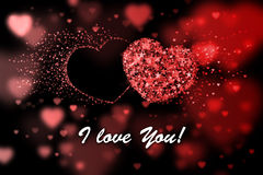 I love You. Red hearts background with bokeh effect Royalty Free Stock Photos