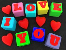 I love you and the red hearts concept on colorful cubes. In background royalty free illustration