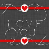I love you red hearts in love Valentine`s day card Stock Photos