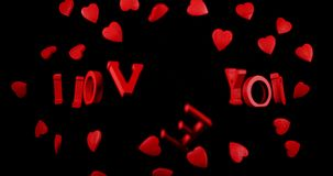 I love you and red hearts for Saint Valentine`s Day,. Slow Motion 4K stock footage