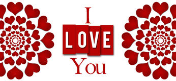 I Love You Red Hearts Stripes Horizontal Royalty Free Stock Images