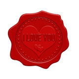 I love you red wax seal Stock Image